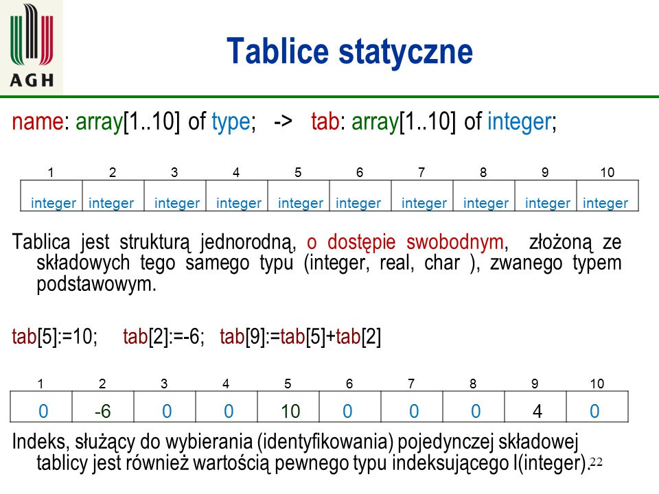 Tablice statyczne name: array[1..10] of type; -> tab: array[1..10] of integer;
